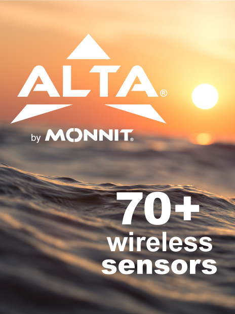 ALTA Logo with 70+ wireless sensors text over background of ocean and rising sun