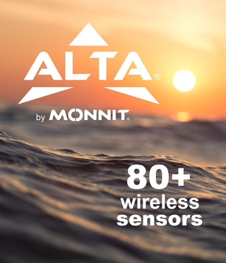 ALTA Logo with 80+ wireless sensors text over background of ocean and rising sun