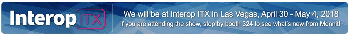 We will be at Interop ITX in Las Vegas, April 30 - May 4, 2018. If you are a partner or customer and would like to schedule a meeting with us email info@monnit.com