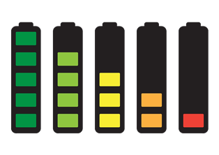 Battery illustrations at increasing levels of depletion