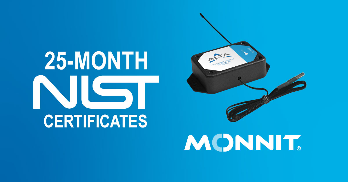 Monnit 25-month NIST certificates