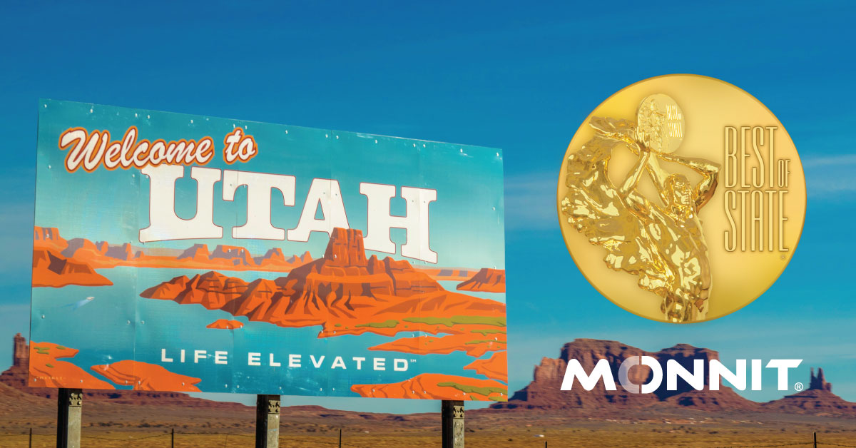 Welcome to Utah sign, Best of State Medallion and Monnit Logo