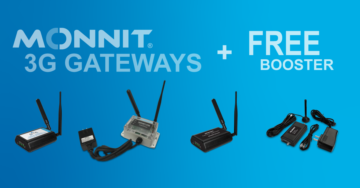 Monnit 3G Gateways with Free 3G Signal Booster