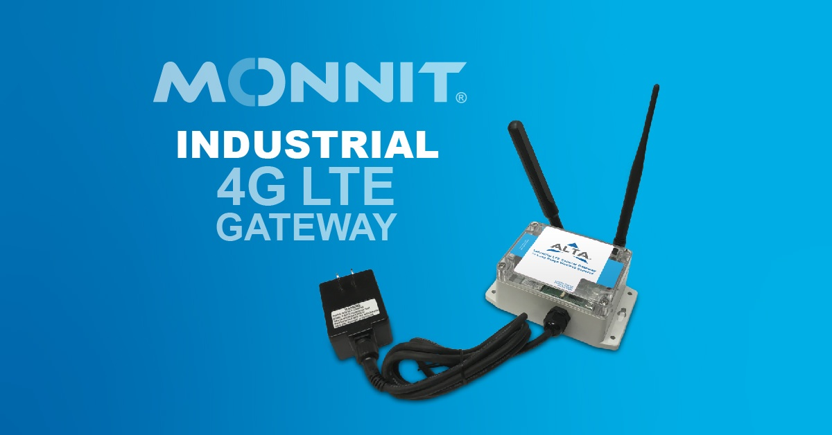 Monnit ALTA Industrial 4G LTE Gateway with Monnit Logo