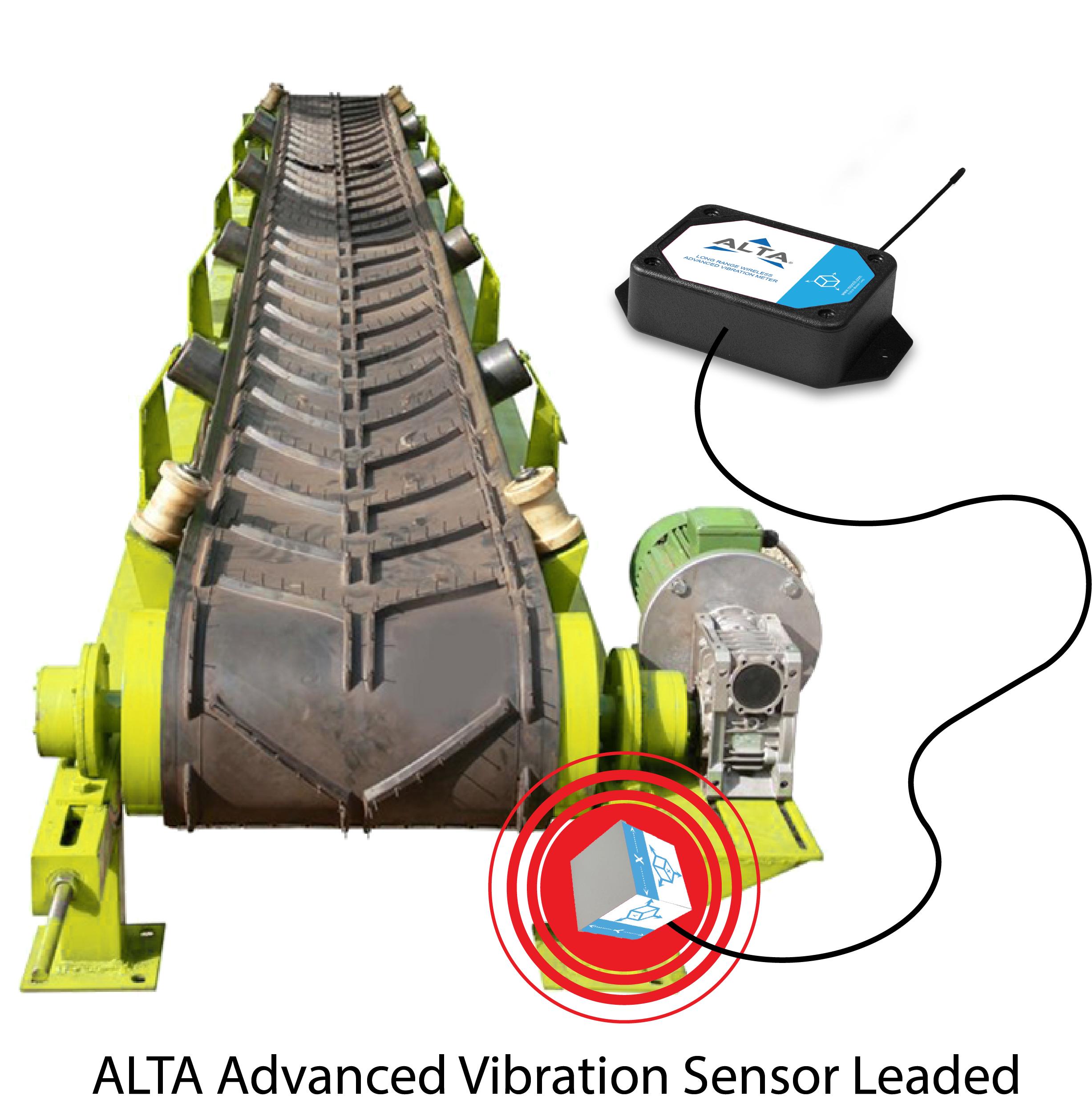 ALTA Advanced Vibration AA Leaded Sensor in use on a converyer
