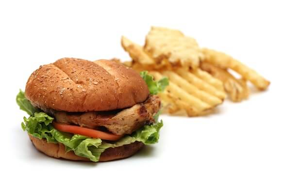 Chicken sandwitch and fries