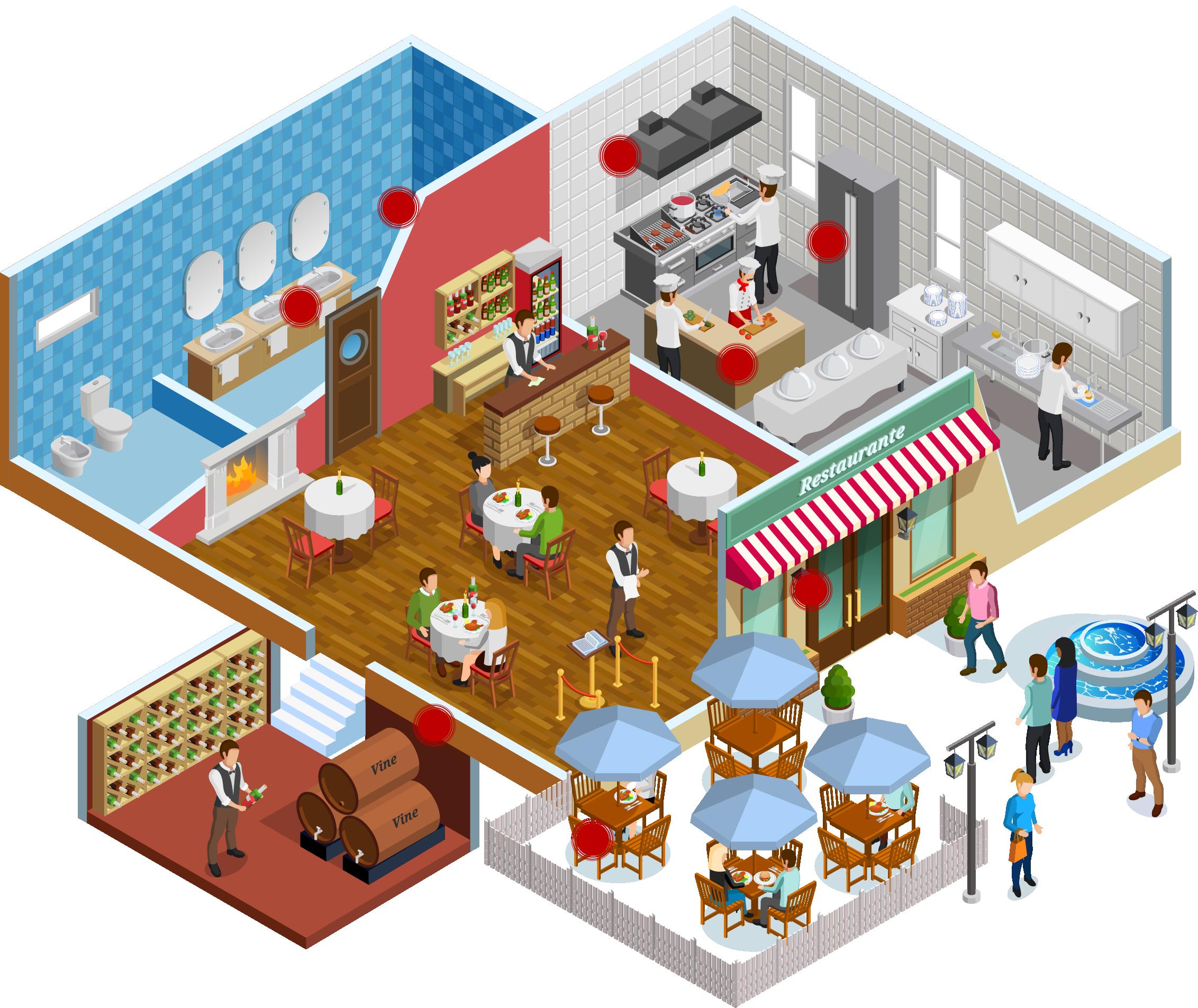 Restaurant cutaway illustration