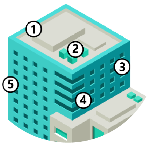 Top detail of the building illustration with sensor location dots