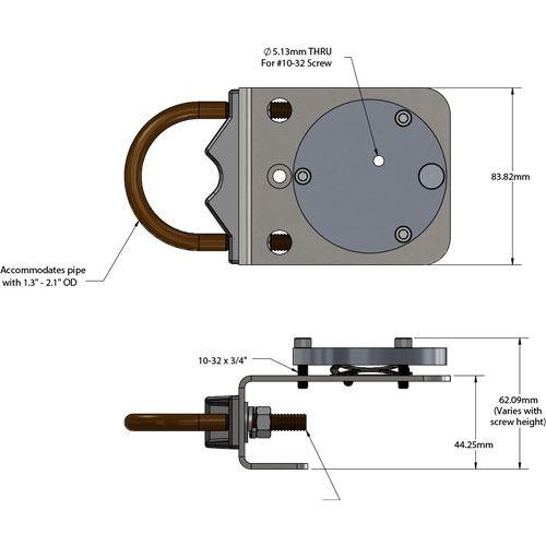 PAR light sensor mounting bracket dimensions