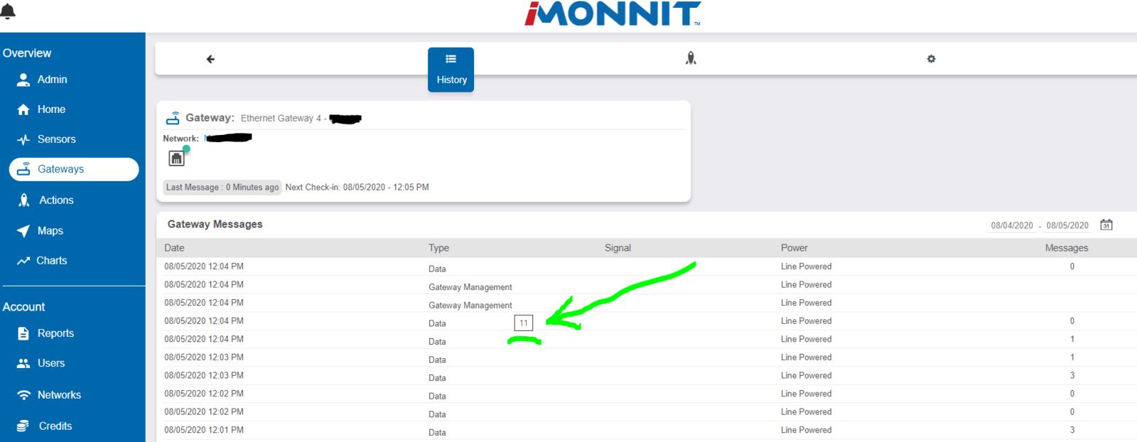 Gateway Management - cursor hover