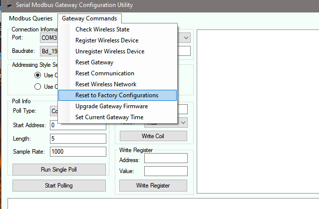 Serial Modbus Gateway Configuration Utility - Reset