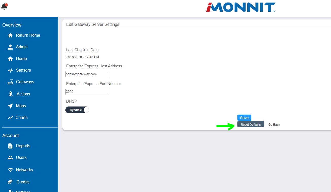 SetHost Reset Defaults Button