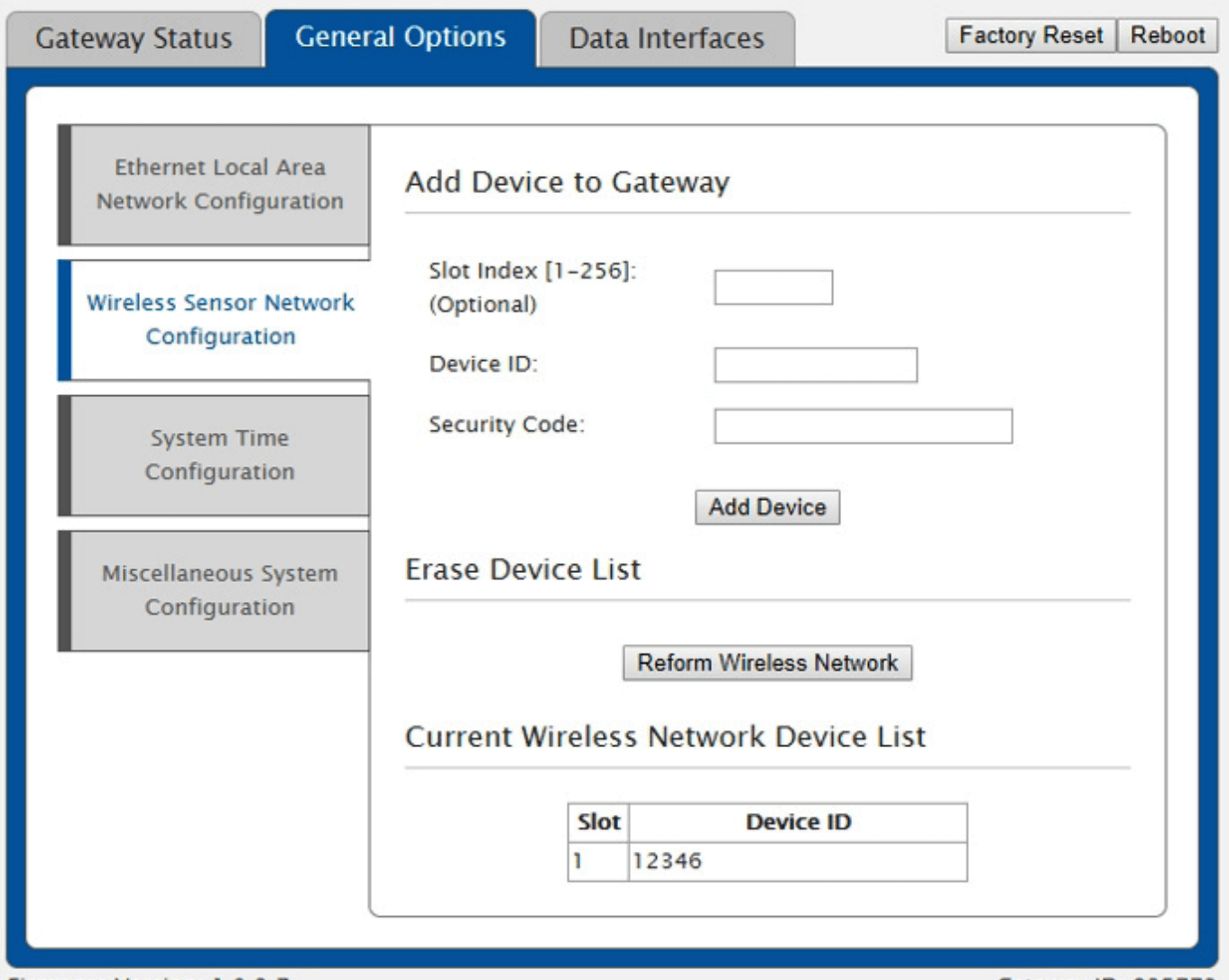 Wireless Sensor Network Configuration