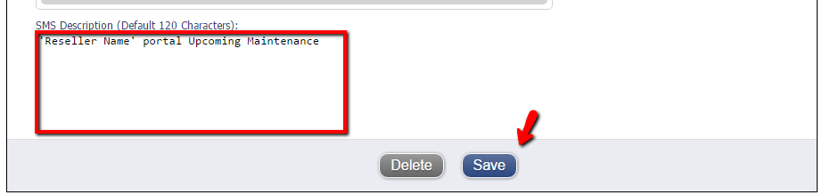 SMS notification edit