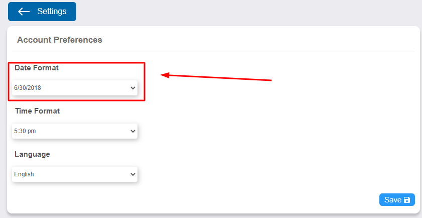 """Select """"Date Format"""""""