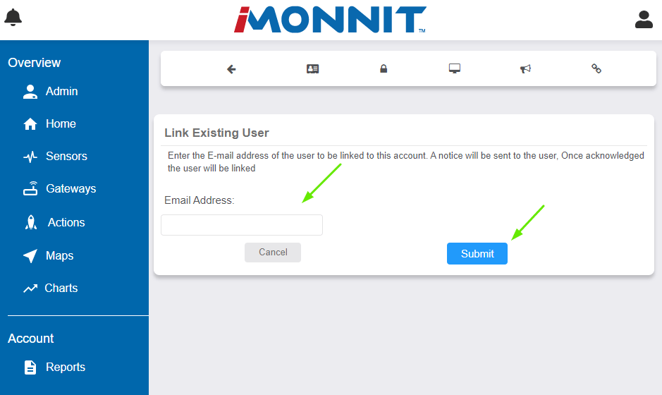 Enter the Linked User's email address