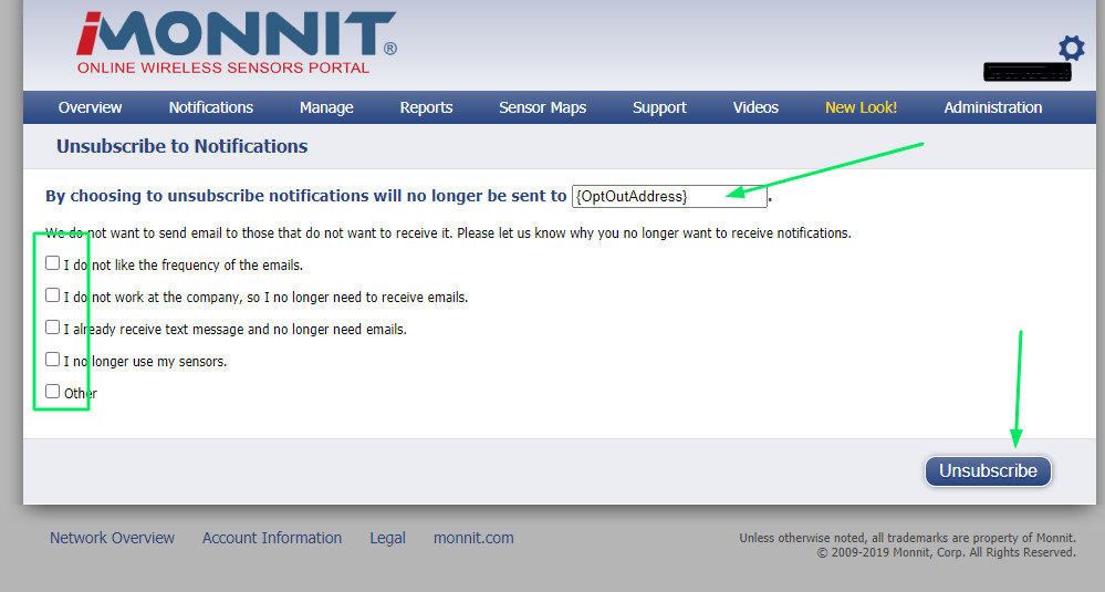 Opt Out page