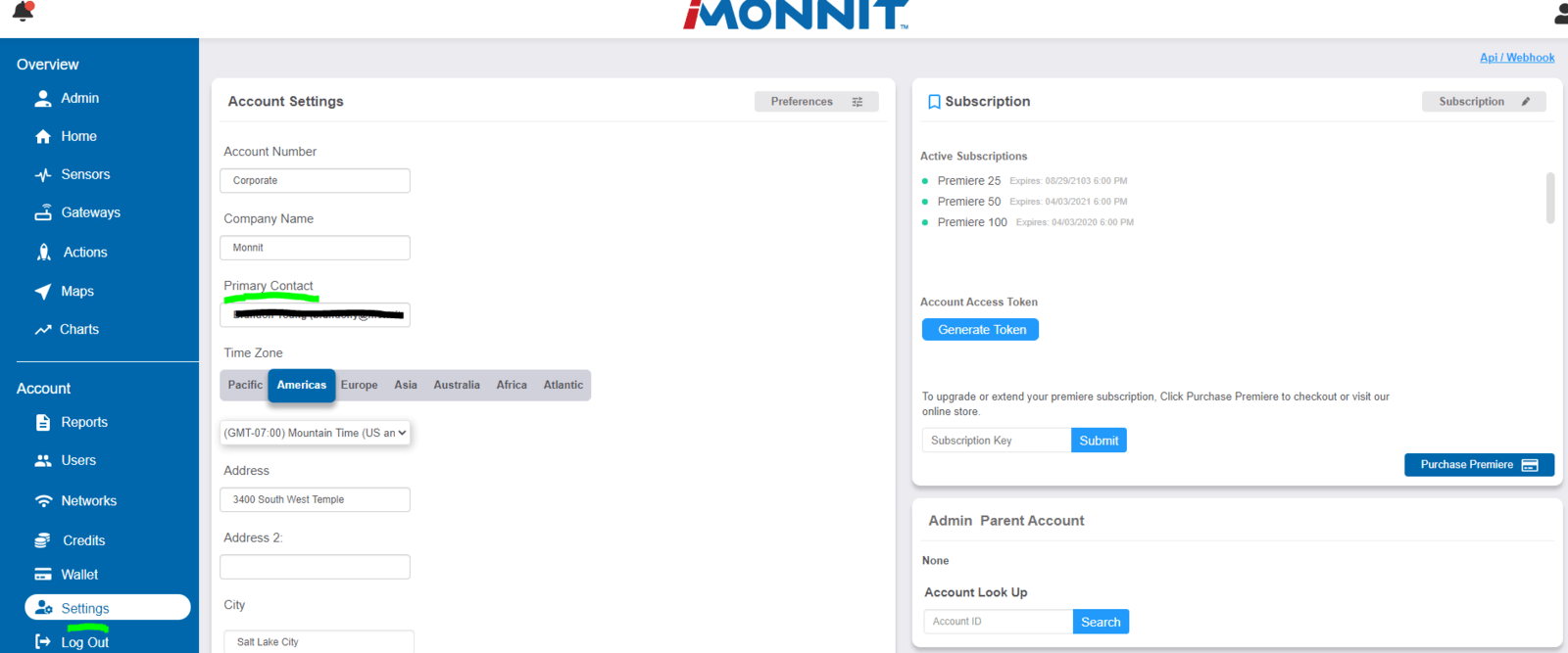 Primary Contact in Account Settings