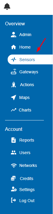 Select sensors tab
