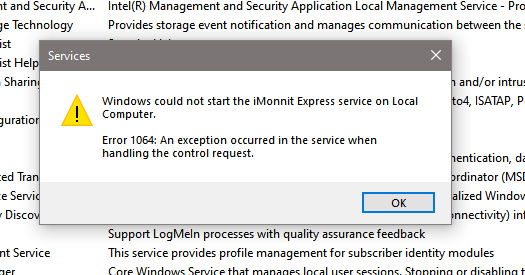 Error 1064: An exception occured in the service when handling the control request