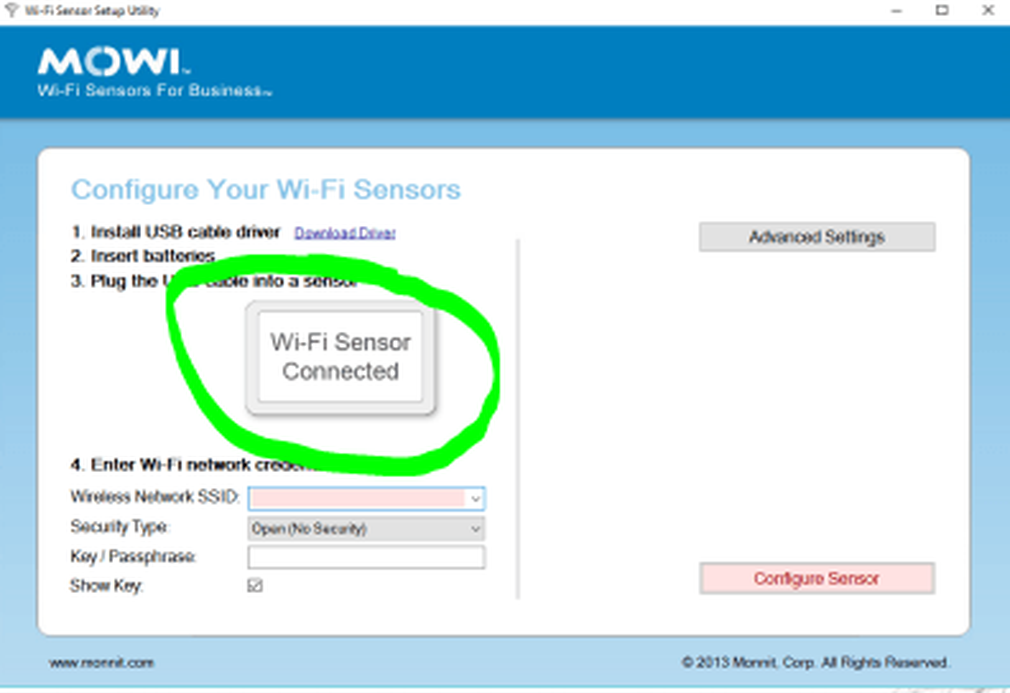 Wi-Fi Sensor Connected