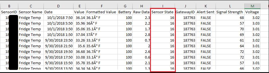 Sensor Export